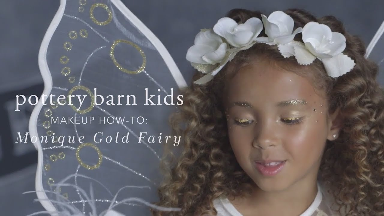 easy halloween makeup tutorial - gold fairy costume for pottery barn