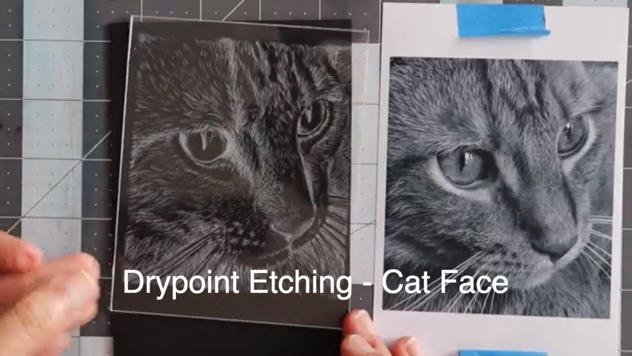 Drypoint Printing on Plexiglass - Cat Face