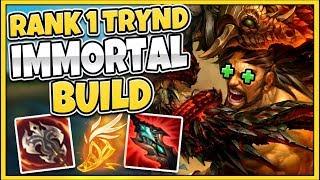 #1 TRYNDAMERE WORLD *NEW* CHALLENGER 1V9 BUILD (INFINITE HEALS) - League of Legends