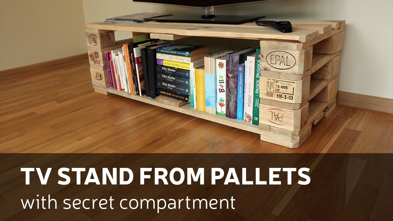 Pallet Tv Stand how to make a tv stand from pallets with secret compartment - youtube