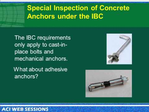 Building Code Requirements for Inspection of Adhesive Anchors in Concrete