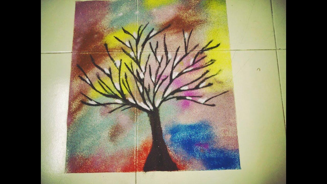 Poster Rangoli Shaded Rangoli Winter Tree Nature Rangoli