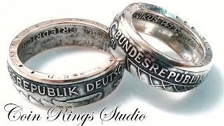 Silver coin rings from German 5 Mark.  Making process (how I made coin rings)