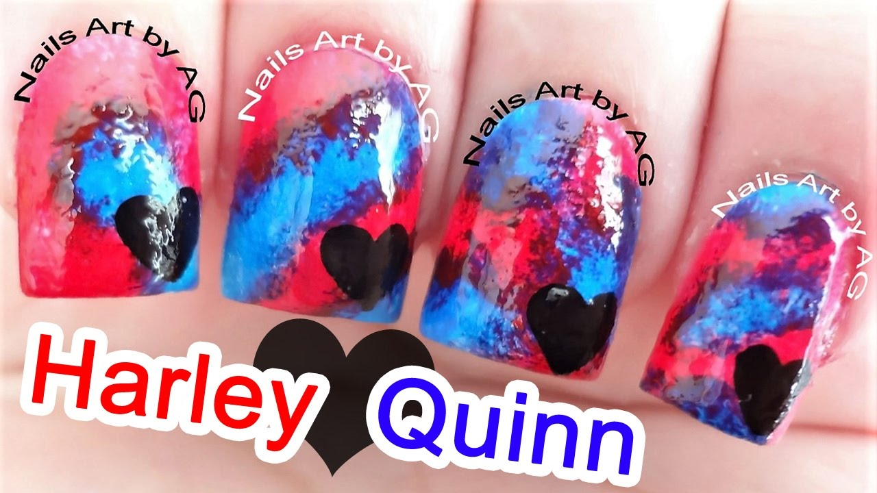 Decoración de uñas Harley Quinn con técnica esponja - YouTube