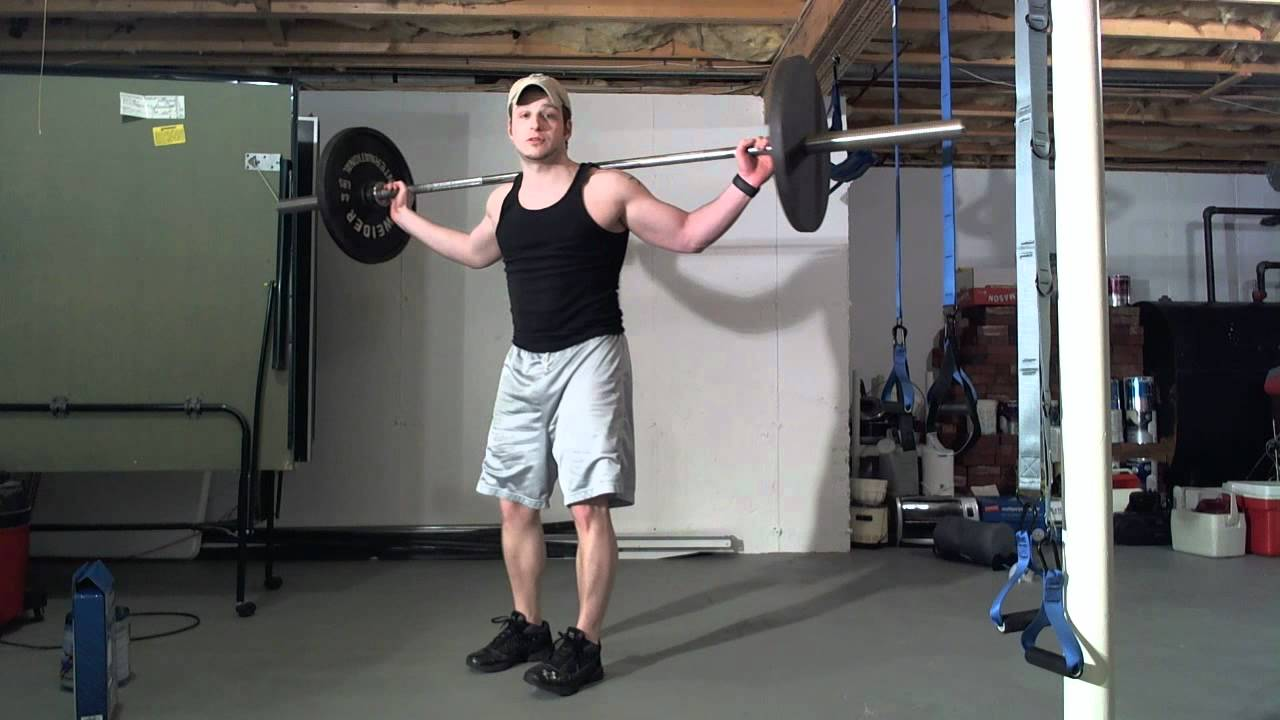 frugal exercise demo barbell squats w no squat rack