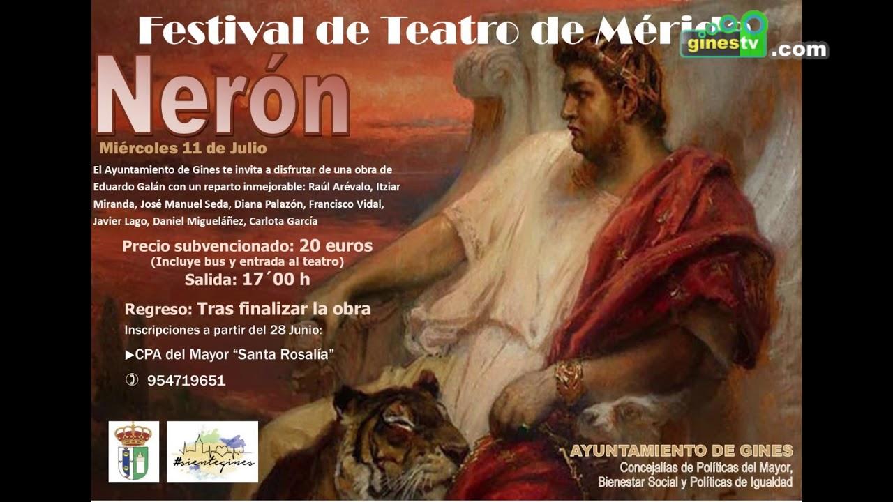 El 11 de julio, salida desde Gines al Festival de Teatro de Mérida