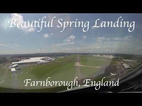 Landing on a beautiful spring day UK, Pilots View, Farnborough. G450
