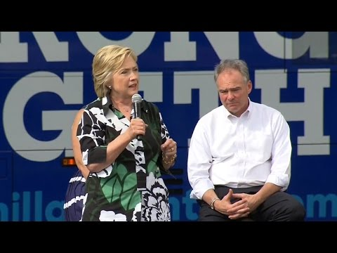 Hillary Clinton and Tim Kaine campaign in Columbus, Ohio