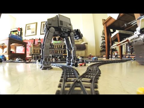 LEGO Trains Layout: 30 meters of in-house tracks. AT-AT included