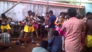 making of Pulikali (Tiger Dance) punkunnam thrissur
