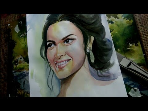 how to paint a girl in watercolor   Painting portrait of girls   time lapse