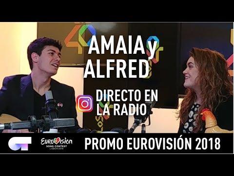 """AMAIA y ALFRED en directo en Instagram desde la Radio """"Los 40""""   Eurovisión 2018 - OT 2017"""