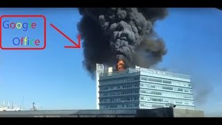 Fire in Google office in China. Google office is on fire.