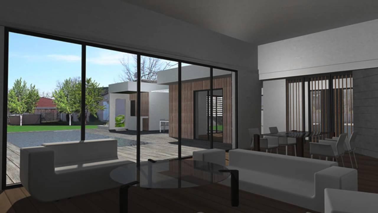 Maison contemporaine en ossature bois  toit terrasse vgtalis  Toulouse  YouTube