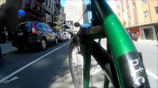 Cabbie swerve and pedestrians in bike lane
