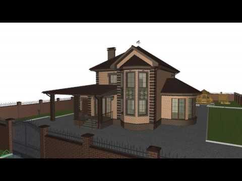 Проект двухэтажного дома с гаражом и большим эркером   D-144-ТП