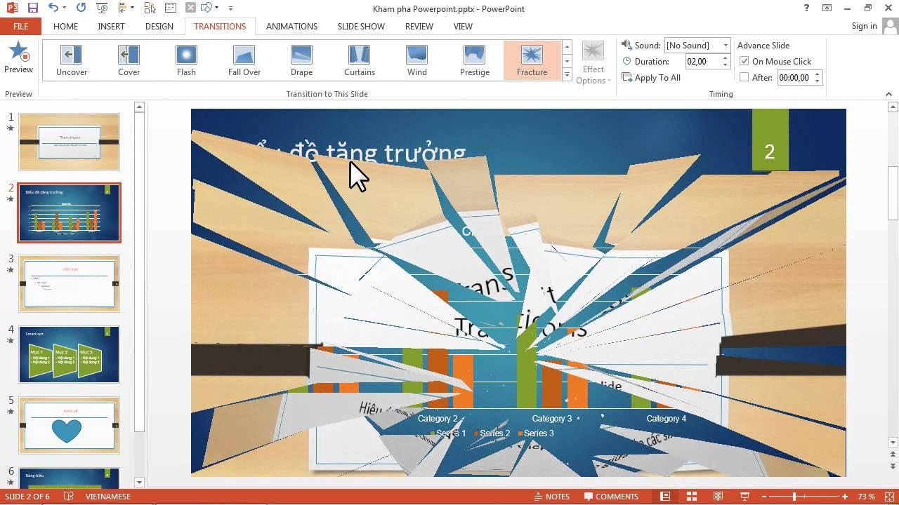 Powerpoint 2013: Cách tạo hiệu ứng chuyển slide