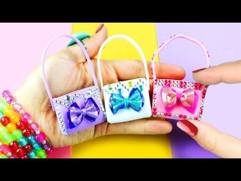 DIY Barbie Doll Miniature Purse, Handbag, Bag - Cute Styles  - simplekidscrafts