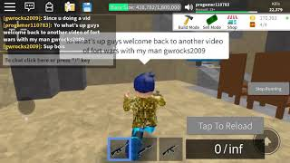 Playing fortwars in Roblox with my pal gwrocks2009