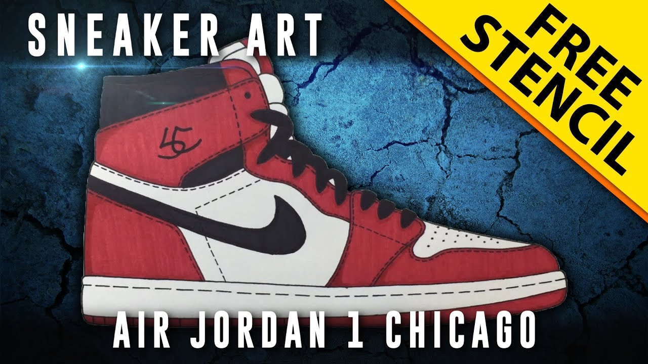 Sneaker Art  Air Jordan 1 Chicago w  Downloadable Stencil - YouTube 38d639a13438