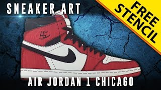 Sneaker Art: Air Jordan 1 Chicago w/ Downloadable Stencil