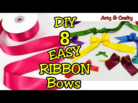 DIY 8 Easy Satin Ribbon Bows | How to Make Ribbon Bow | Ribbon Hair Bow Tutorial by Arty & Crafty