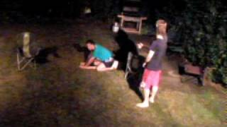 Girl v Boy lawn wrestle II - the lengthy face sit