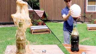 100 MENTOS IN GIANT COKE BOTTLE! Eruption and Balloon Inflate!