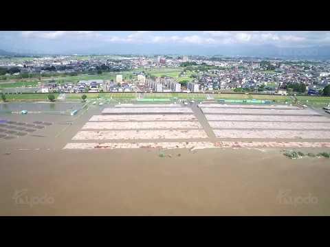 秋田テレビ株式会社様 8月24日 大仙市大曲大雨災害 報道用ドローン撮影