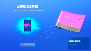 HOW TO GET THE NEW FREE FORTNITE CUDDLE HEARTS WRAP CAMO! NEW FREE WRAP! VALENTINES DAY CHALLENGES