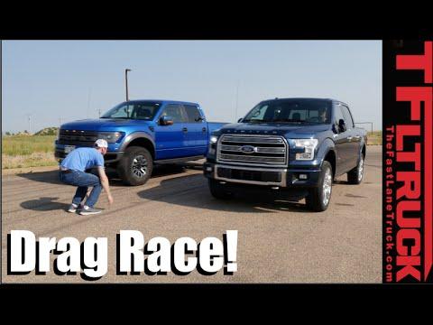 Ford F-150 Raptor vs Ford F-150 3.5L Twin Turbo Drag Race: V6 Turbo vs 6.2L V8