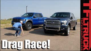 Ford F-150 Raptor vs Ford F-150 3.5L Twin Turbo Drag Race: V6 Turbo vs 6.2L V8