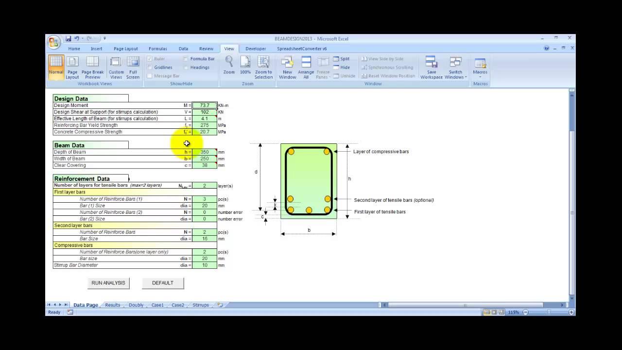 Reinforced Concrete Beam Design Spreadsheet - YouTube