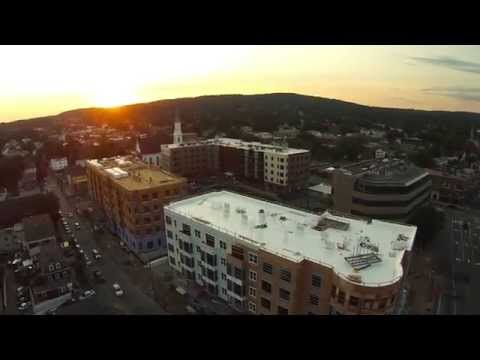 Aerial Drone Video of Downtown Waltham MA: Merc Construction at Sunset
