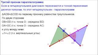 Геометрия 8 класс. Третий признак параллелограмма