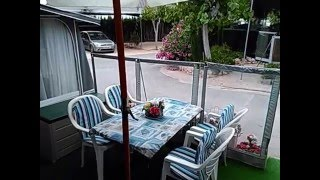 Hobby Caravan & Awning For Sale On Camping Benisol In Benidorm, Costa Blanca, Spain.