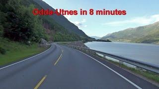 Norway, dashcam. Sandvin (Odda) to Utne in 8 minutes