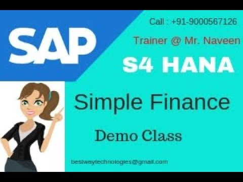 SAP S4 HANA Simple Finance Online Training in Hyderabad Bangalore |  Simple Finance Training Videos