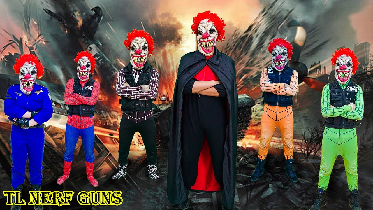 Superhero Nerf War: Spiderman X Warriors Nerf Guns Fight Criminal Group Defeat Killer Clown