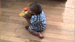 Boy Screaming at Chicken Dance Toy