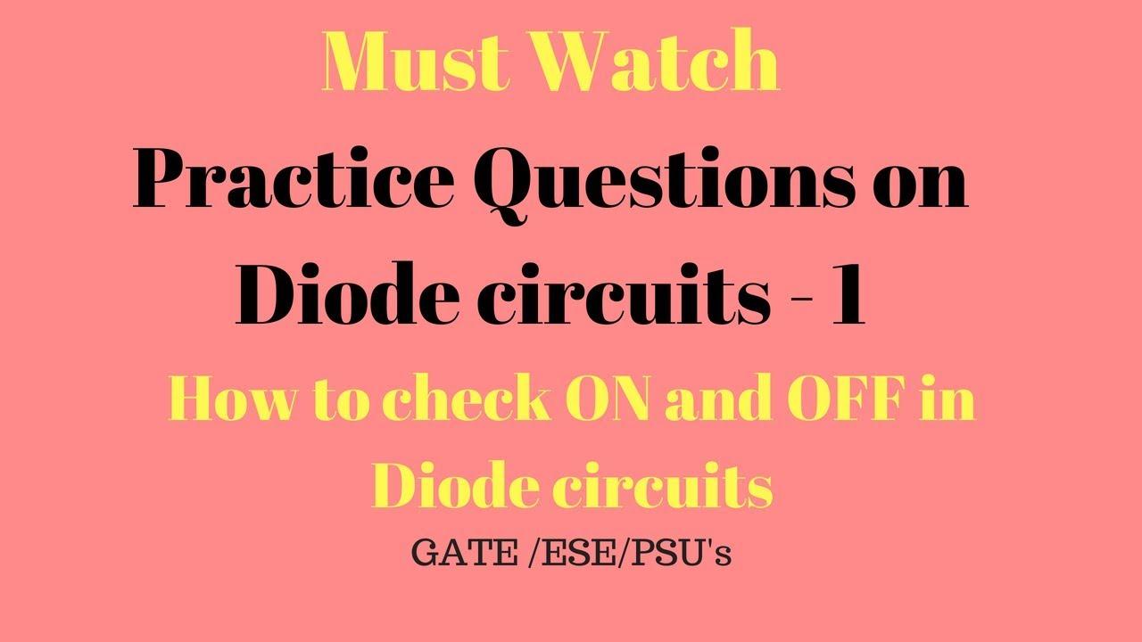Problems On Diode Circuits 1 Numerical Diodes Gate Zenerdiodecircuits Zener Ese In Hindi