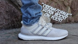 Adidas Ultra Boost Cream Chalk On Feet