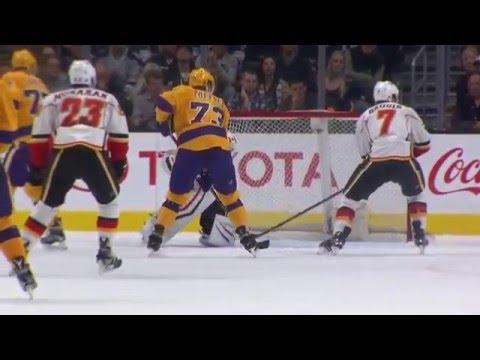 Anze Kopitar goal. Calgary Flames vs Los Angeles Kings 2/23/2016