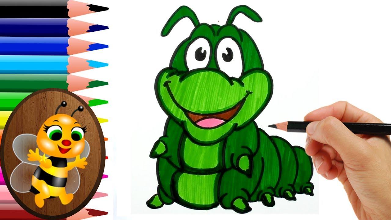 Dibujando Y Coloreando Un Gusano Gusano Animado Para Colorear