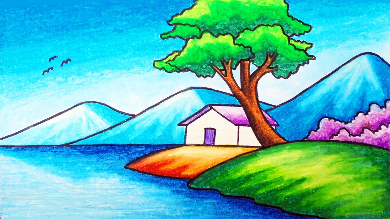 Easy Nature Scenery Drawing For Beginners How To Draw Simple Scenery Of A House In The Beach Youtube
