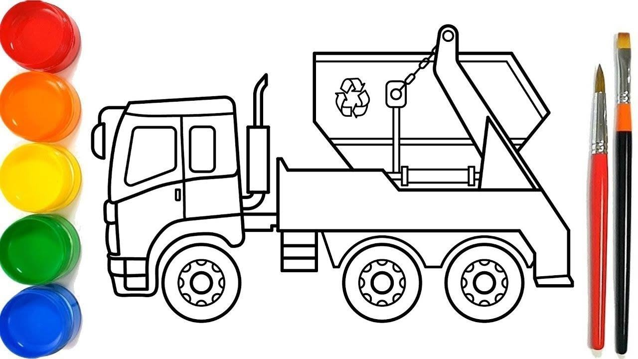 Glitter Garbage Truck Coloring Pages For Kids Truk Sampah