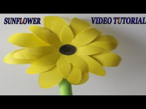 How to make a paper flower tutorial | DIY Paper Sunflower using Template | Quilling flowers tutorial