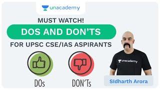 Do's and Don'ts for UPSC CSE/IAS 2020 Aspirants - Prelims and Mains   Sidharth Arora