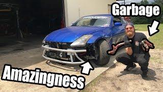 Resurrecting The 350Z After CLEETUS CRASH! Finally Gets A Big Boy Angle Kit!! (EPIC ANGLE!)