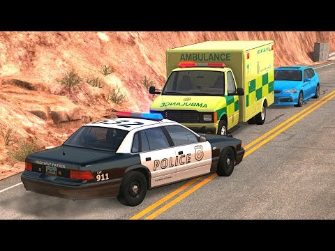 BeamNG.drive - Emergency Vehicles In Action Crashes (real sounds)